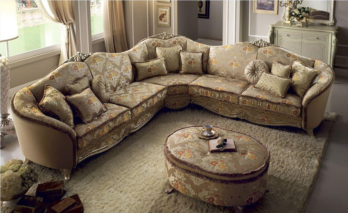 Tiziano Corner Sofa Large Fabric Covering Wooden Frame Comfortable