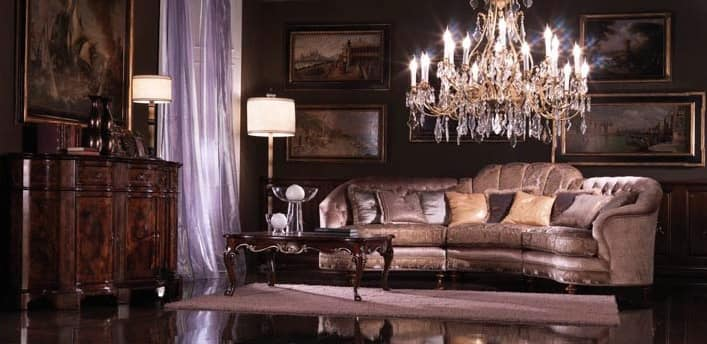 Valentina, Corner sofa covered in silk, luxury classic style