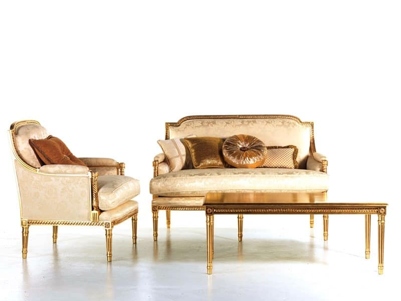 Vanessa sofa, Upholstered sofa, gold embellishments, for reception