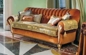 Vivaldi, Upholstered sofa with tufted back, for classic living rooms
