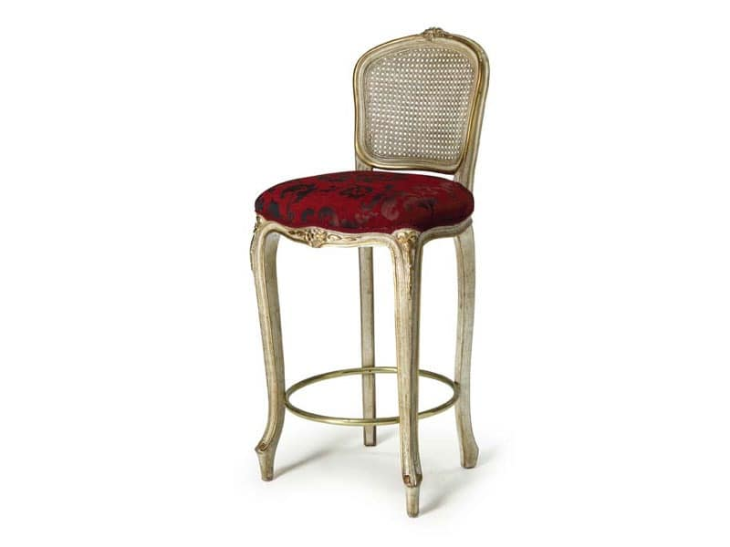 Art.449 barstool, Stool with fixed height, luxury classic style