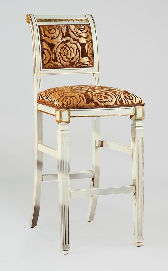 BS023B - Stool, Classic stool with Greek decoration