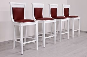 Eleganza leather, Stool painted white, classic empire style
