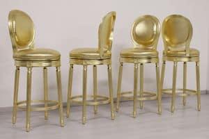 Rotondo swivel stool, Stool with swivel seat, gold finish