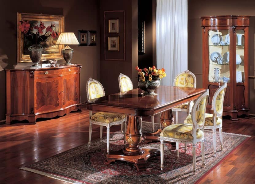 3190 TABLE, Inlaid wooden table, with 2 beds, for classics living rooms