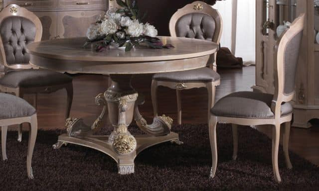 3640 TABLE, Inlaid table with round top suitable for dining rooms