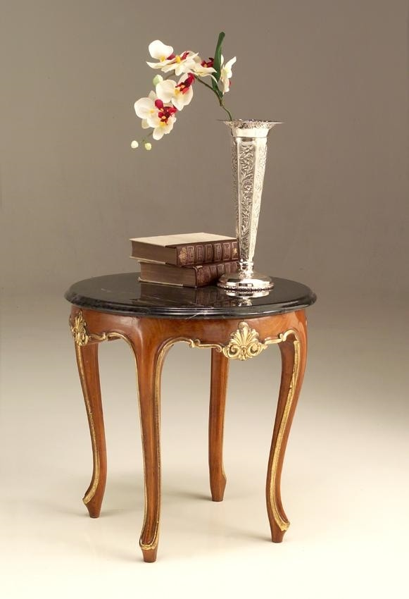 6524 small table, Classic style coffee table with marble top