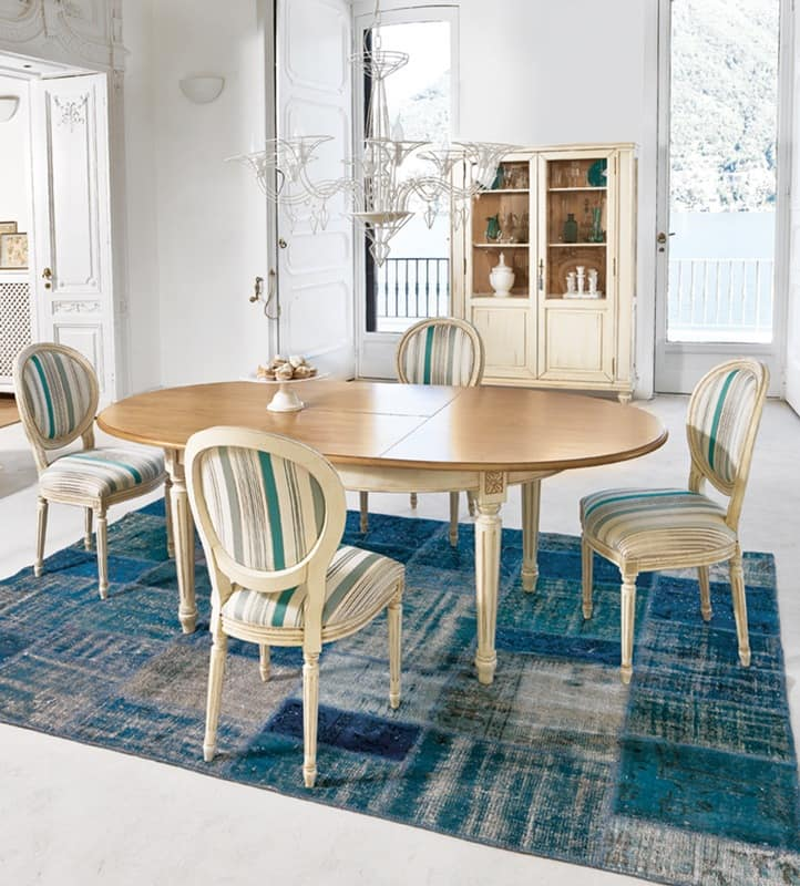 APOGEO Art. 1126, Classic wood table, for living areas or for the kitchen