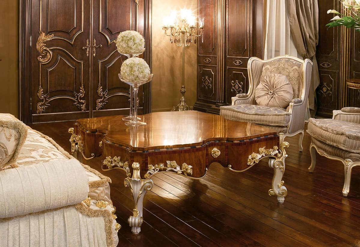 Art. 1054, Luxury coffee table, top made of olive wood, classic style
