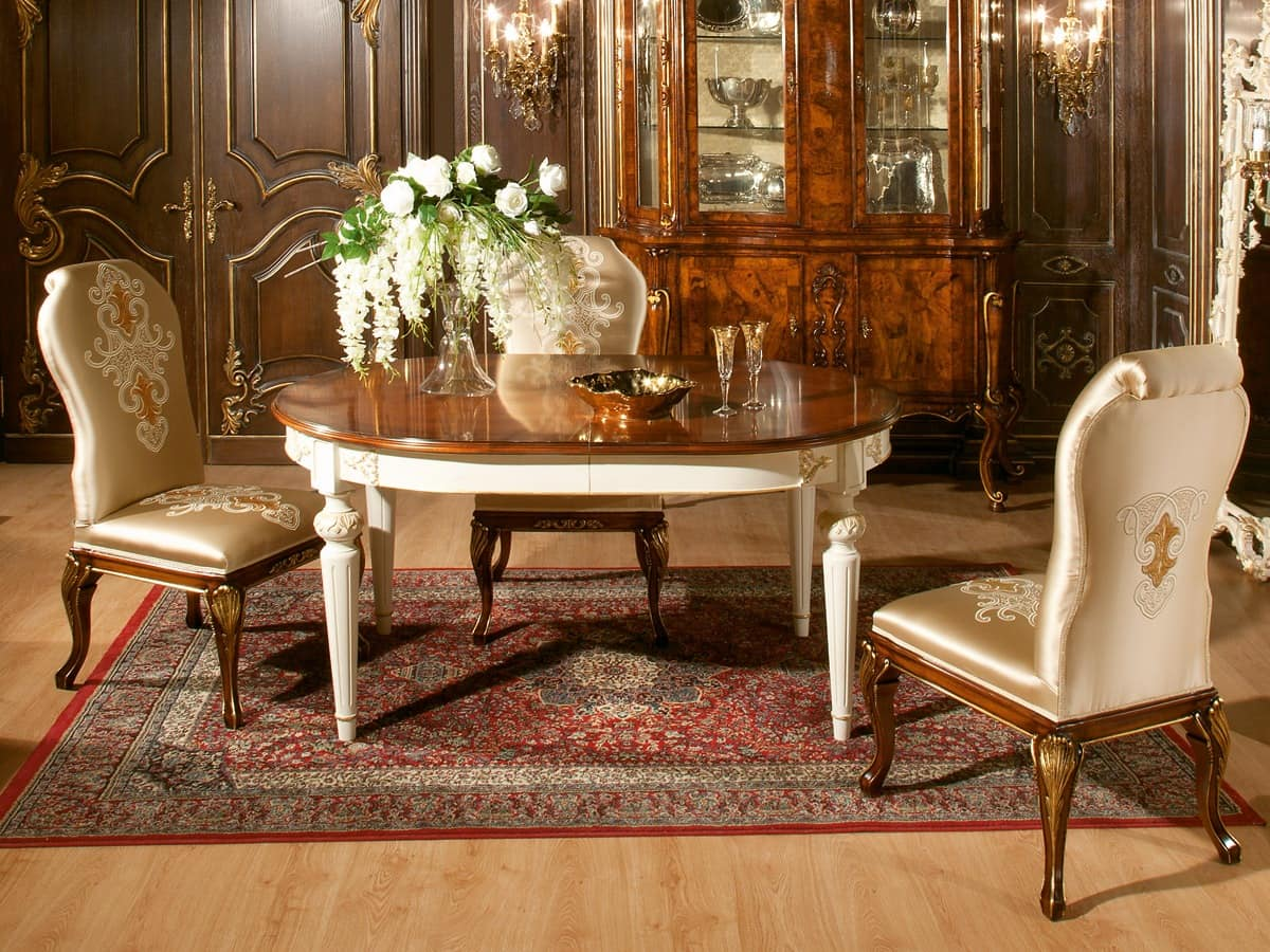 Art. 1074, Oval table with walnut top, gold finishings