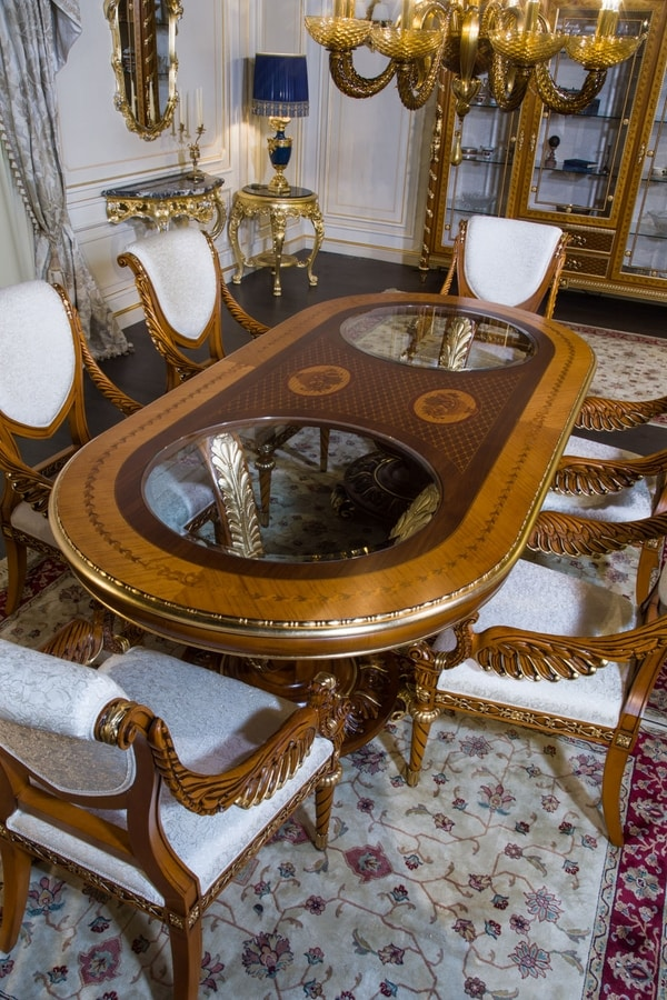 Art. 2011 table, Oval table with inlaid top
