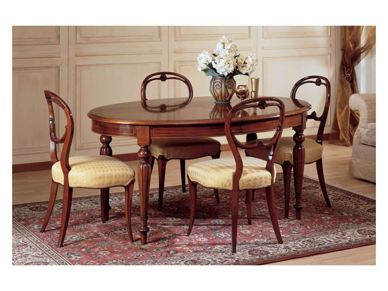Art. 281 oval table '800 Francese, Oval table, luxury classic stile, in decorated wood