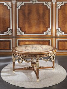 ART. 3098, Round luxury table, with inlays in gold