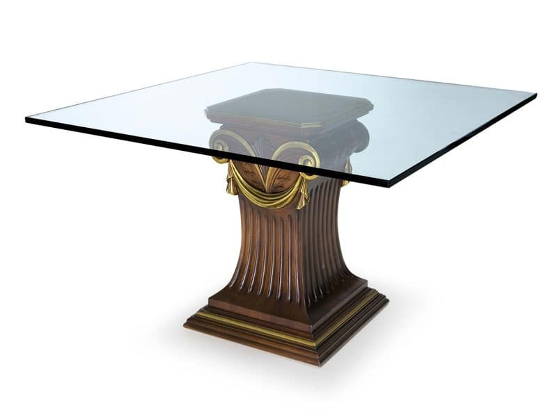 Art.528 dining table, Table with glass top and beech base, classic style