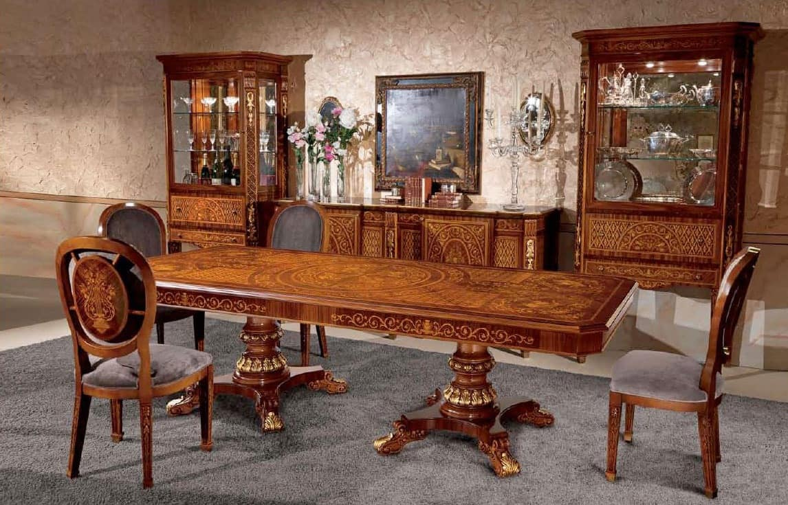 Art. 615/R, Rectangular wooden table, inlaid, in classical style