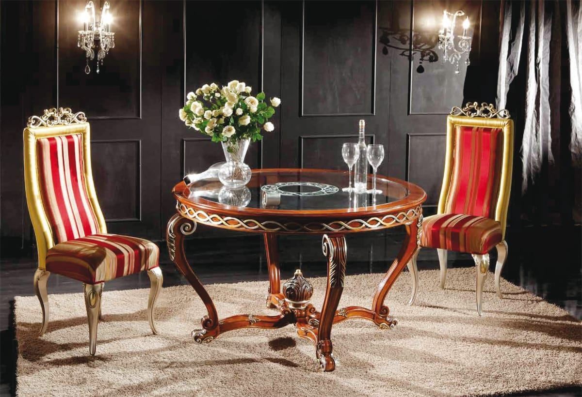 Art. 902, Classic round table with glass top