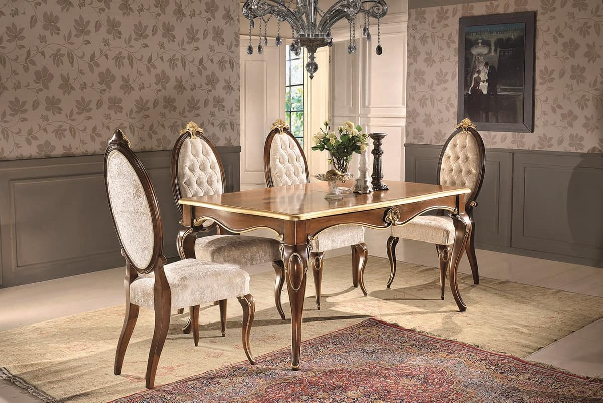 Art. 903, Rectangular table, with floral decorations, for dining room