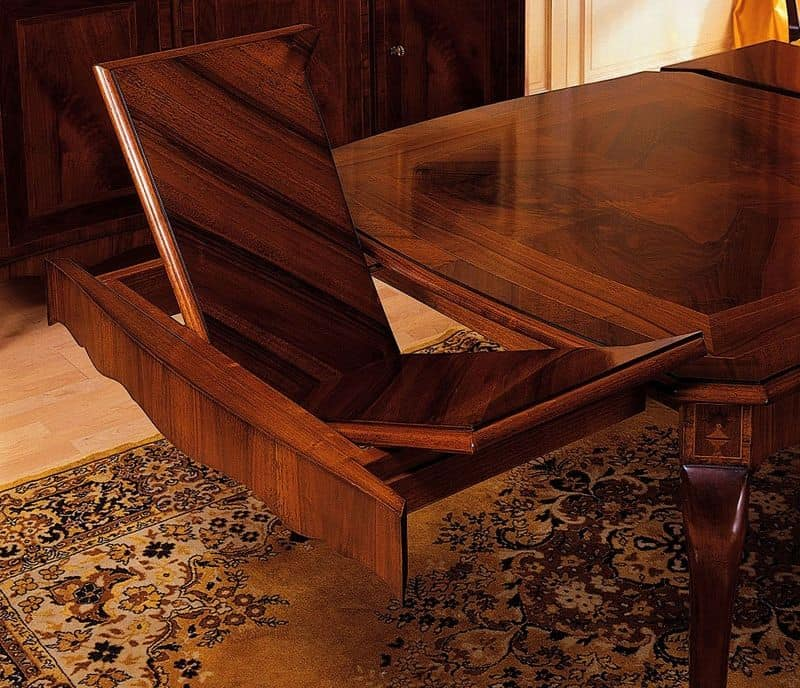 Art. 903 table '800 Francese, Classic tables in worked wood, with extensions