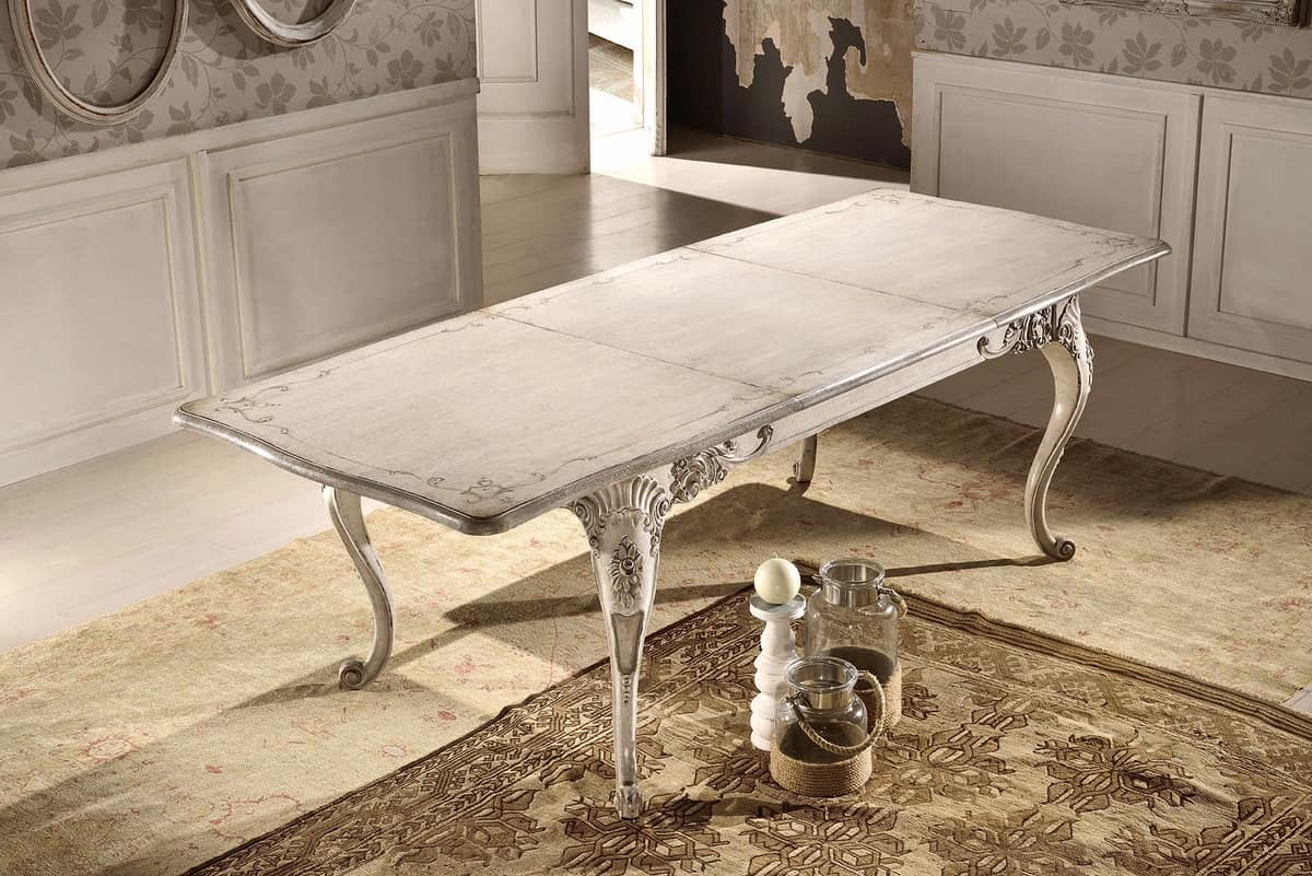 Art. 905, Rectangular extendable table, lacquered, classic