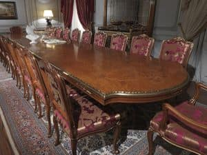 Art. 9090 tavolo, Table in briar wood, inlaid top, classic luxury style, for dining rooms