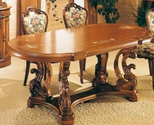Art. L-805, Oval table in carvede walnut, hand-crafted ornaments, classic style