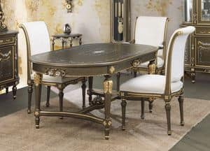Art. L-922 K, Oval table, lacquered crackle black on gold background, in classic style