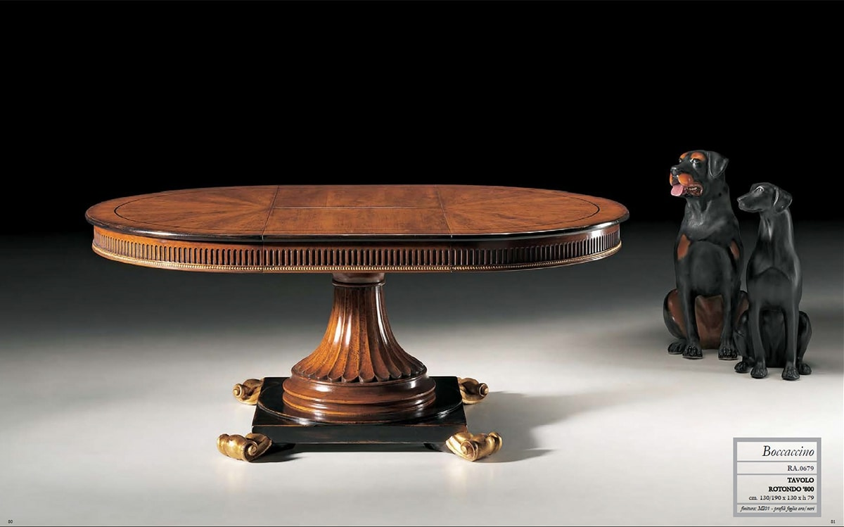 Boccaccino RA.0679, Round table in walnut, carved, extensible
