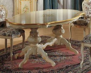 Brianza shaped table, Classic table, with decorative painting