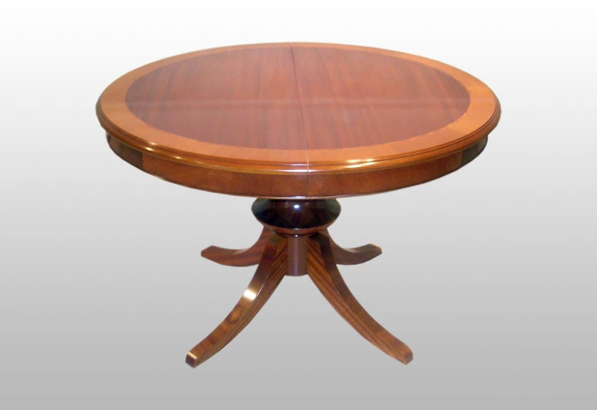 Burke, Round extendable classic table, mahogany veneered