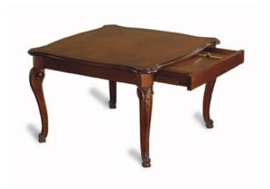 Canova square table, Square extendable table, inlaid and polished
