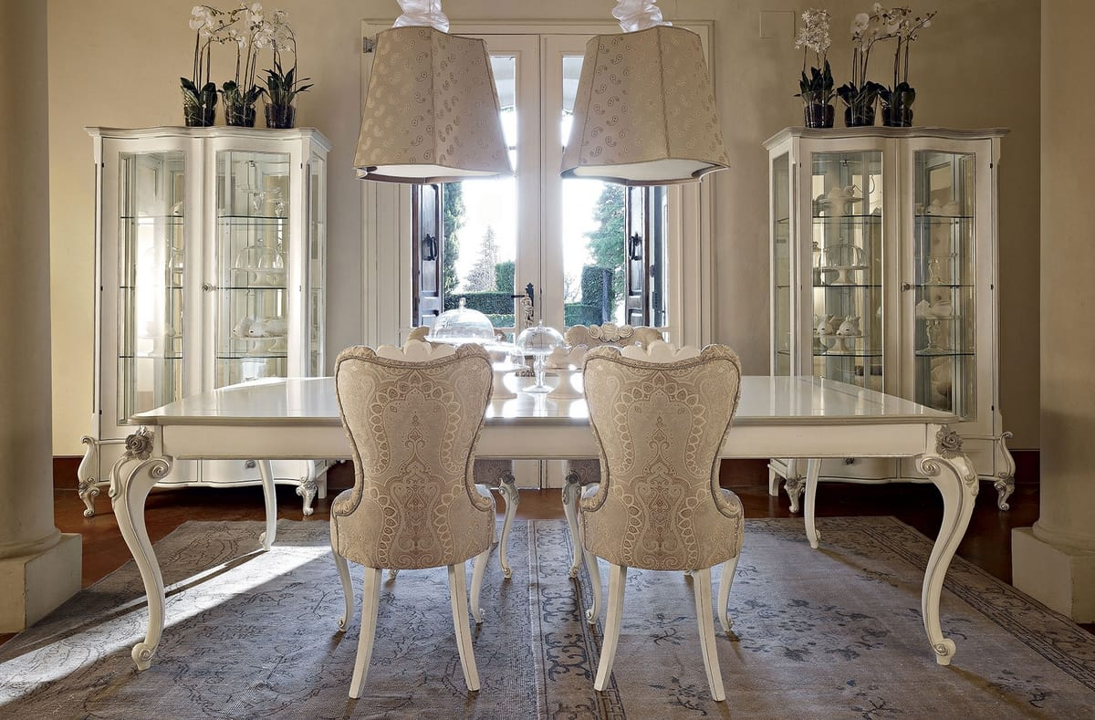 Carpi table, Classic table, with white and silver finish