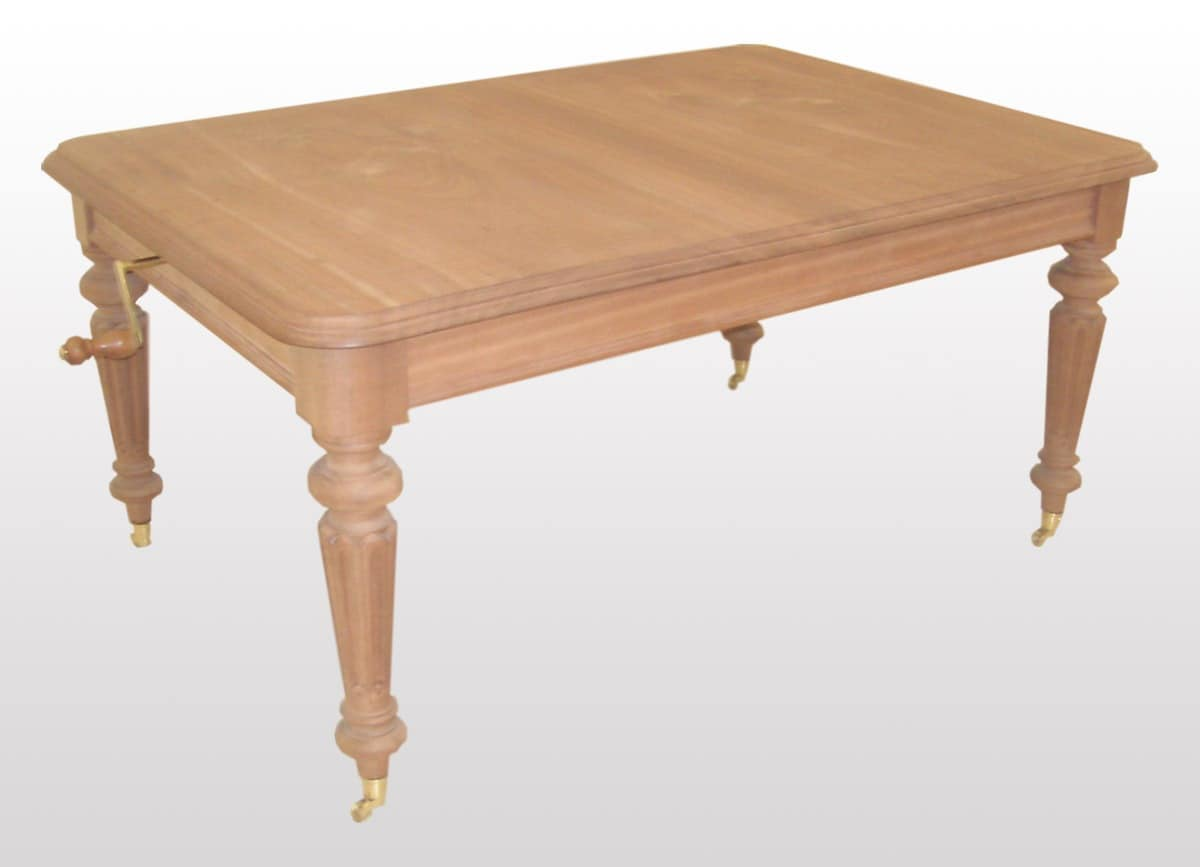 Collins, Classic extendable rectangular table, turned legs