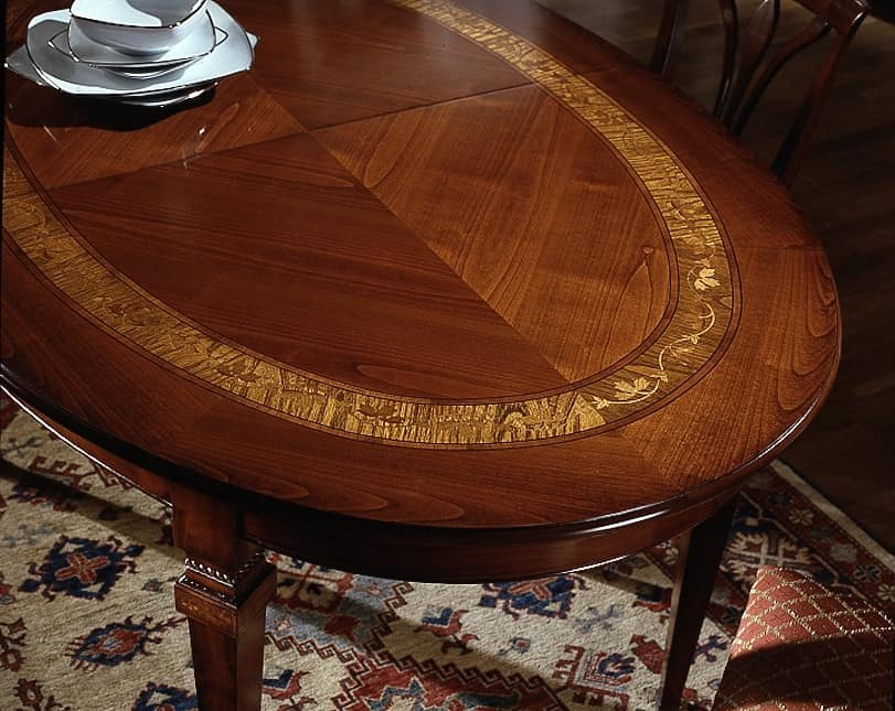 D 306, Oval table in cherry wood, extendable, luxury classic