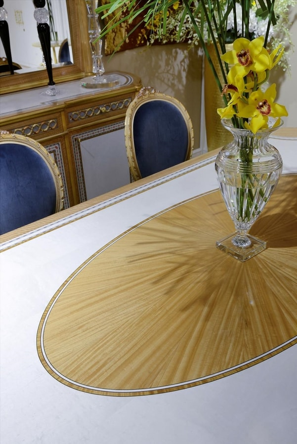 Dining table 1443 Louis XVI style, Luxurious dining table