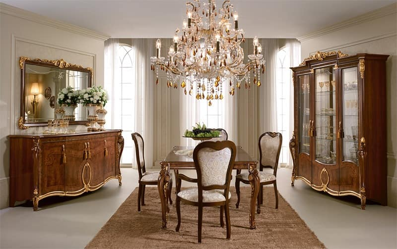 Donatello table, Precious wooden table, decorations applied by hand by master craftsmen, for the dining room