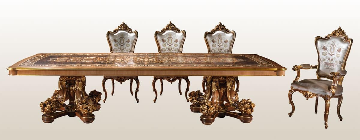 F800, Luxury inlaid table, for classic residences