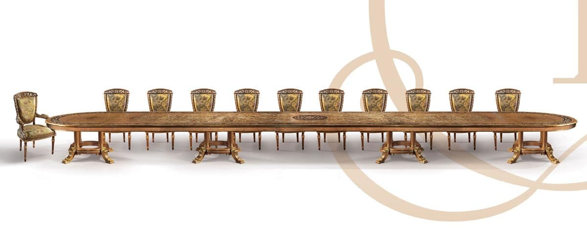 F979/A table, Customizable Classic luxury table in carved wood