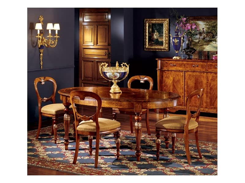 Ferrara table 743, Oval dining table with extensions