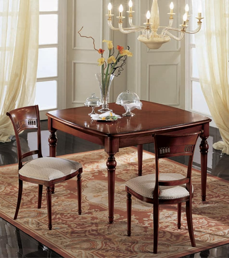 Gardenia square table, Extensible square table, classic, in solid walnut