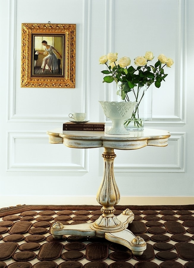 Gentilini RA.0685, Table with only one stem, for luxury classic living rooms