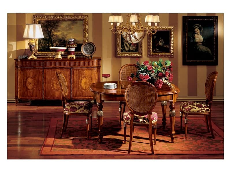 Hepplewhite table 742, Luxury classic table in wood for dining room