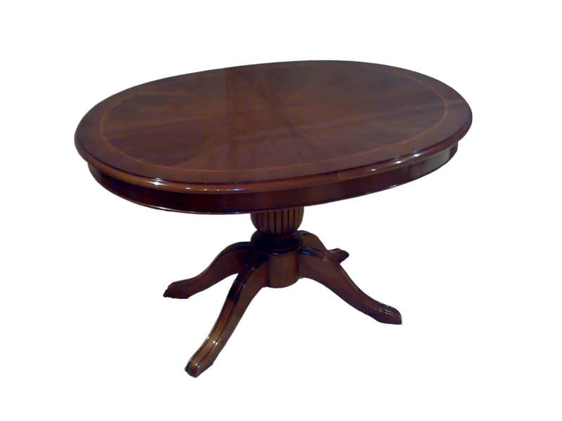 Hopkins, Extending oval table, classic style, carved base