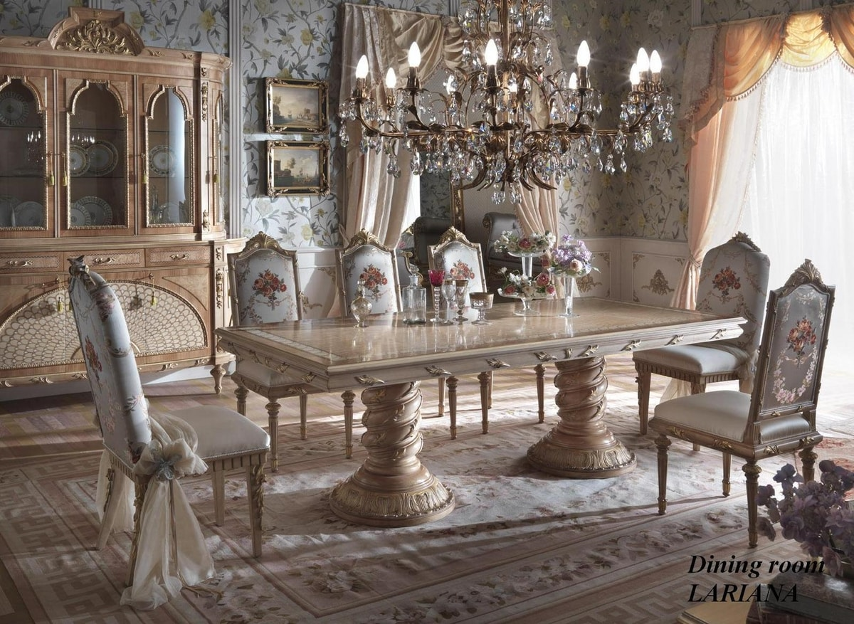 Lariana table rectangular, Sumptuous dining table with inlaid top