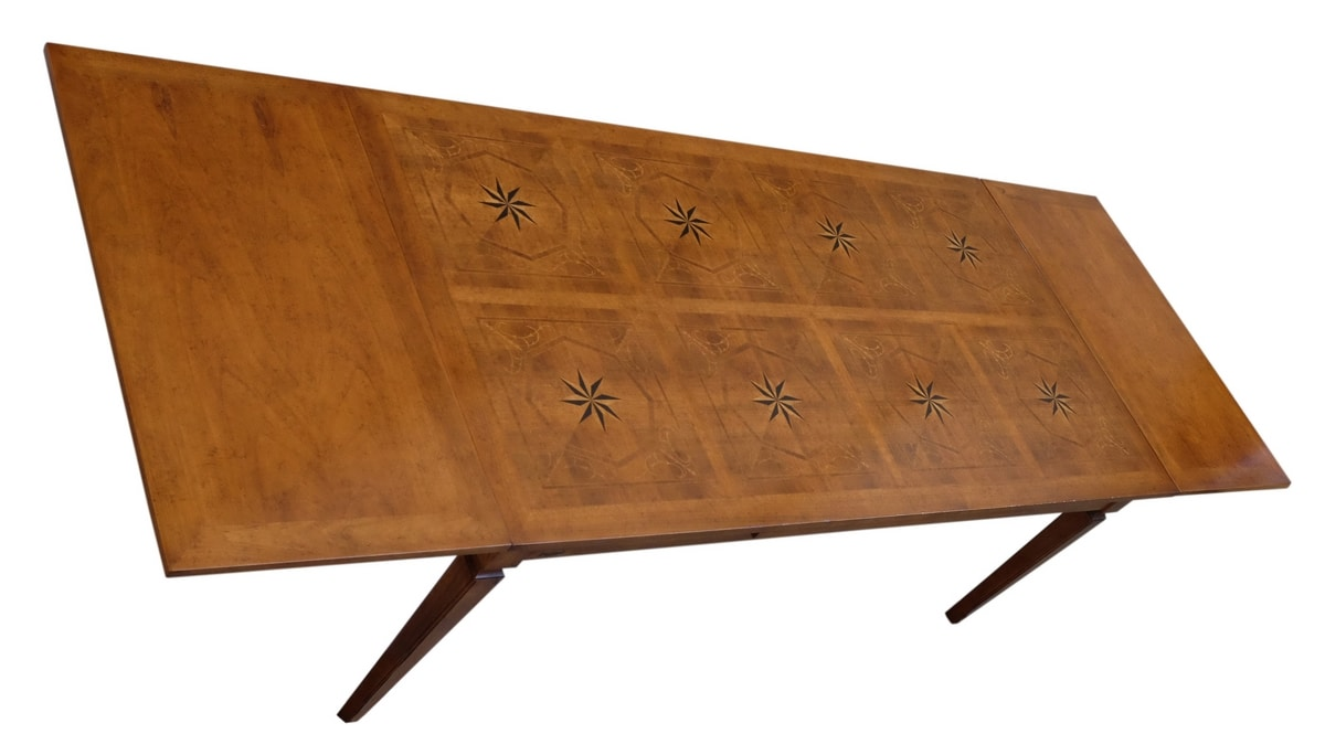 Lauret VS.5514.B, Walnut rectangular extendible table, inlaid top, for dining rooms in classic luxury style