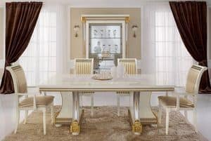 Liberty table, Dining tables, luxury products made in Italy, in hand-carved wood