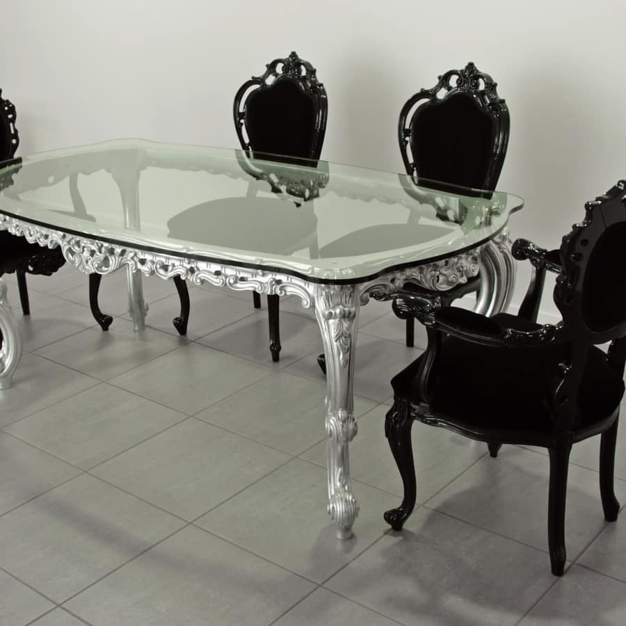 Luxury, Luxury classic table with glass top and silver finish