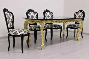Luxury gold, Luxury carved table, gold-plated, granite top