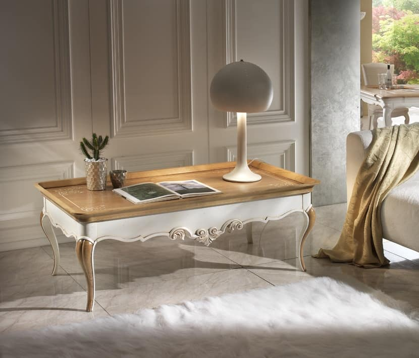 M 508 B, Cherry coffee table, with carvings, rectangular, two-tone