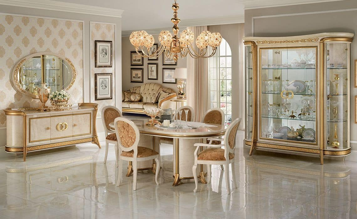 Melodia sala da pranzo, Dining room in classic style, with display cabinets, sideboard, table and chairs