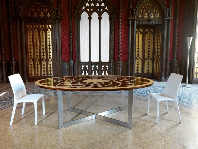 Michelangelo table, Classic oval table, with wooden top and metal base